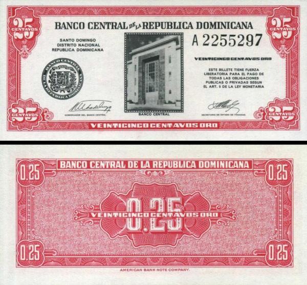 25 Centavos Dominikánska republika 1961 P87a
