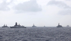 Ships from ASEAN Defence Ministers' Meeting (ADMM)-Plus navies sail in formation during ADMM-Plus Maritime Security Field Training Exercise 2019. (Singapore Ministry of Defence photo)
