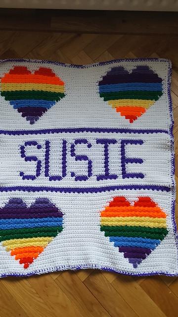 Rainbow hearts blanket for Susie