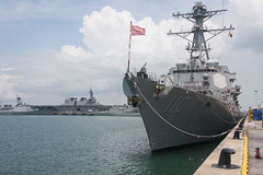 USS William P. Lawrence (DDG 110) sits along the pier at Changi Naval Base, May 14. (U.S. Navy/MC2 Patrick Semales)