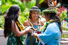 """The University of Hawaii at Manoa William S. Richardson School of Law celebrated at the school's graduation ceremony on May 12, 2019. V. Lu'ukia Nakanelua, center, who gave the student address for the law school graduation, consults with graduates Amanda Rae Lerma, left, and Ku'upuamae'ole Kiyuna, right, in the courtyard beforehand. (Photo credit: Mike Orbito) For more photos go to: <a href=""""https://www.flickr.com/photos/37424325@N08/sets/72157691433495983/"""">www.flickr.com/photos/37424325@N08/sets/72157691433495983/</a>"""