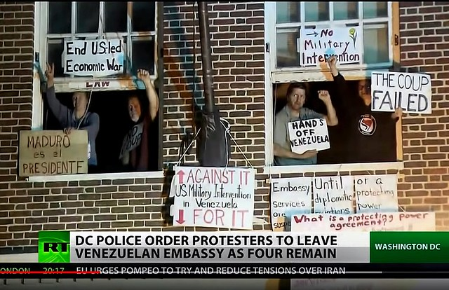 Showdown At The Venezuelan Embassy: Federal Authorities Back Down After Threatening To Evict Peace Activists Inside By Kevin Zeese and Margaret Flowers, From Inside the Venezuelan Embassy