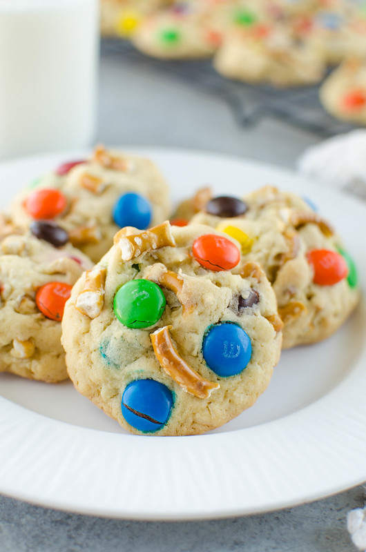 Sweet and Salty Pudding Cookies - soft cookies filled with coconut, pretzels, and M&Ms! The pudding mix keeps them soft for days.