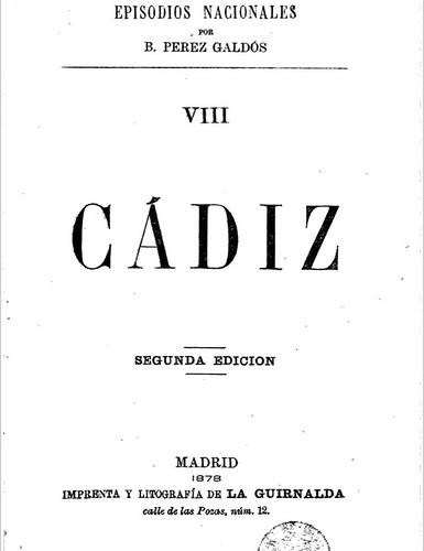 Cádiz. De Pérez Galdós.