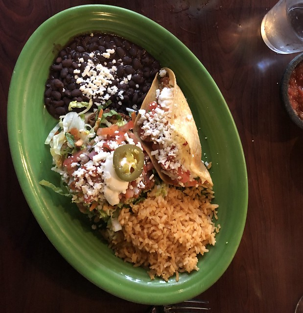 Beef sope, Taco Dorado, black beans and Mexican rice