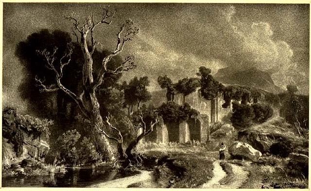 Achenbach, Oswald (1827-1905) - 1850 Landscape with Figure and Roman Ruins (Block Museum of Art at Northwestern University, Illinois, USA)