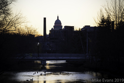 sunrise dawn providence rhode island silhouette geese goose river water orange dark capitol factory city urban