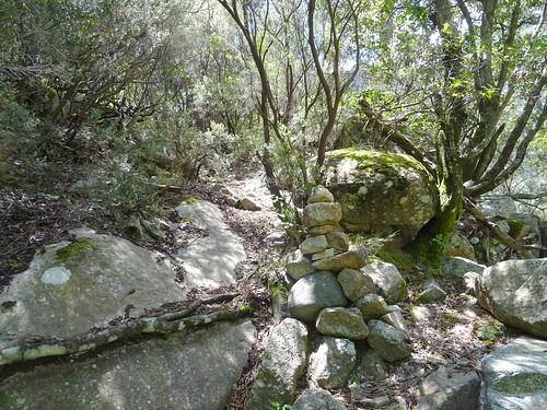 La sortie de la remontée du Peralzone : le chemin avec son cairn
