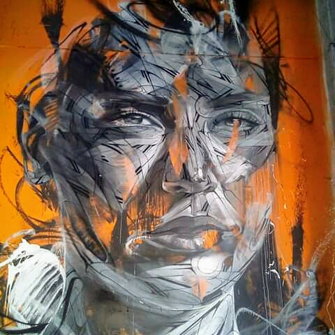 Close up of a mural by hopare - Mr Freeze, 2019.
