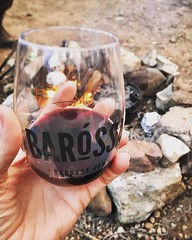 Bringing the some of the Barossa with us. Red wine 🍷 + campfire 🔥 = 😍