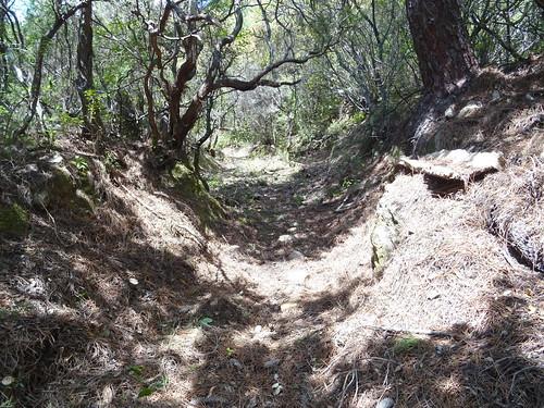 Le chemin de Luviu, bien creusé, après le 2ème plateau herbeux