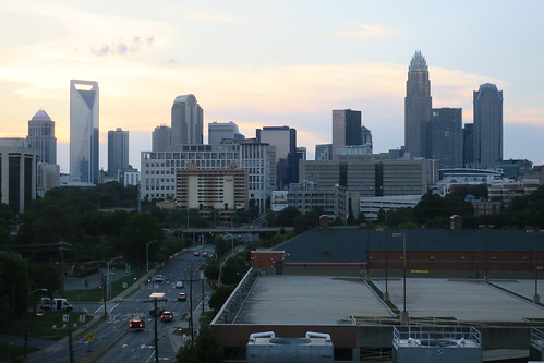 skyline charlotte sunset