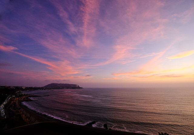 Beach sunset in Lima, Peru