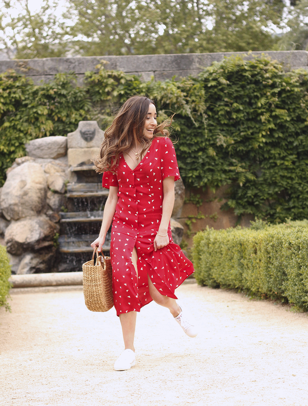 red midi summer dress white sneaker straw bag street style outfit 201915