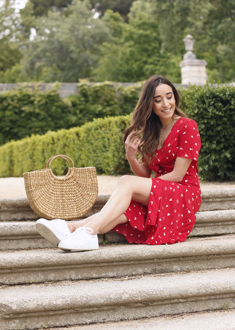 red midi summer dress white sneaker straw bag street style outfit 201913