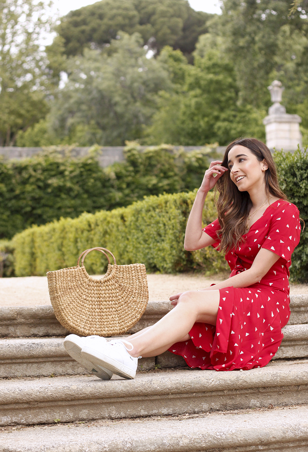 red midi summer dress white sneaker straw bag street style outfit 201911