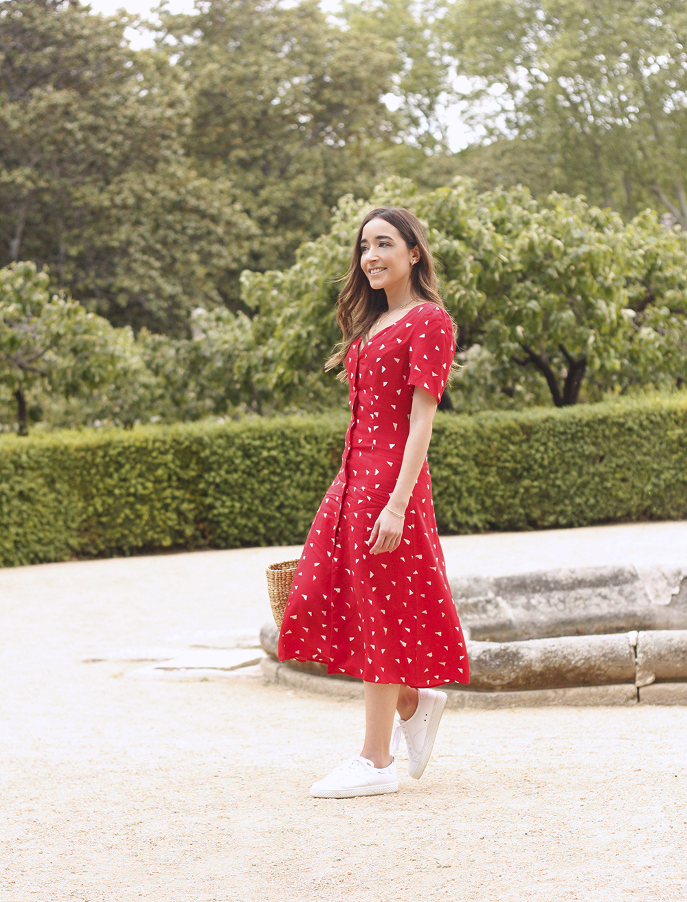 red midi summer dress white sneaker straw bag street style outfit 20191