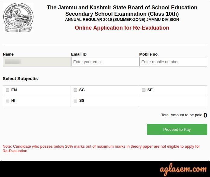 JKBOSE 10th Regular Revaluation form 2020
