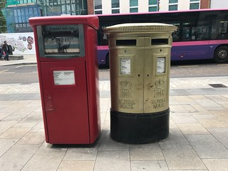 Gold post box in Watford