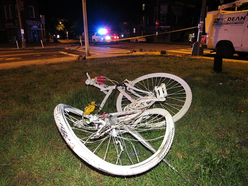 Speeding Driver on Florida Ave Takes Out Light Pole, Ghost Bike, Car, & Fence