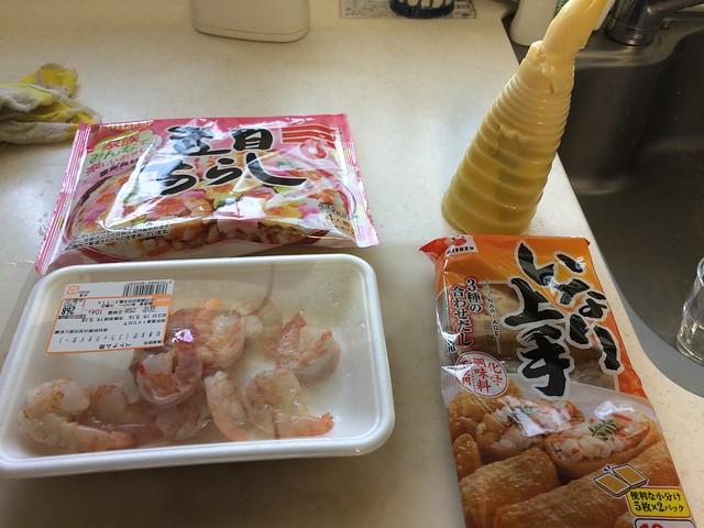 タケノコとエビのいなり寿司!w