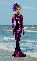 Crimson Dress in the Sea