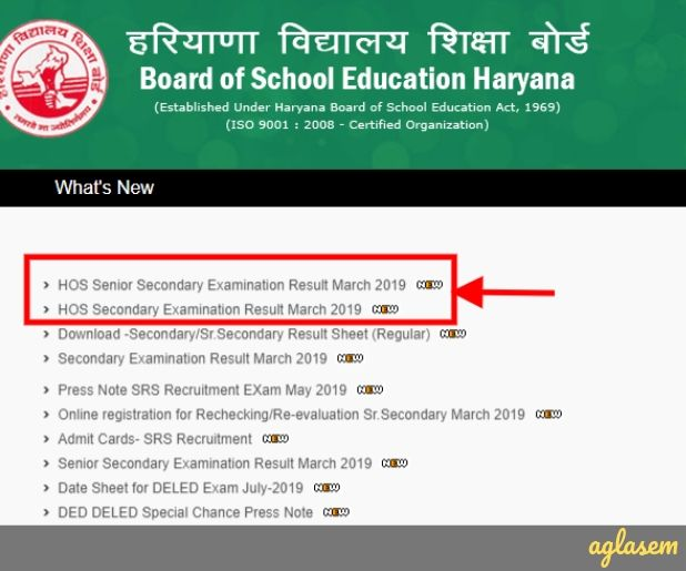 HOS Result 2019 announced at bseh.org.in: Board declares marks for 10th and 12th