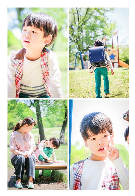 森林公園(愛知県尾張旭市)で親子撮影会 新小学1年生の男の子