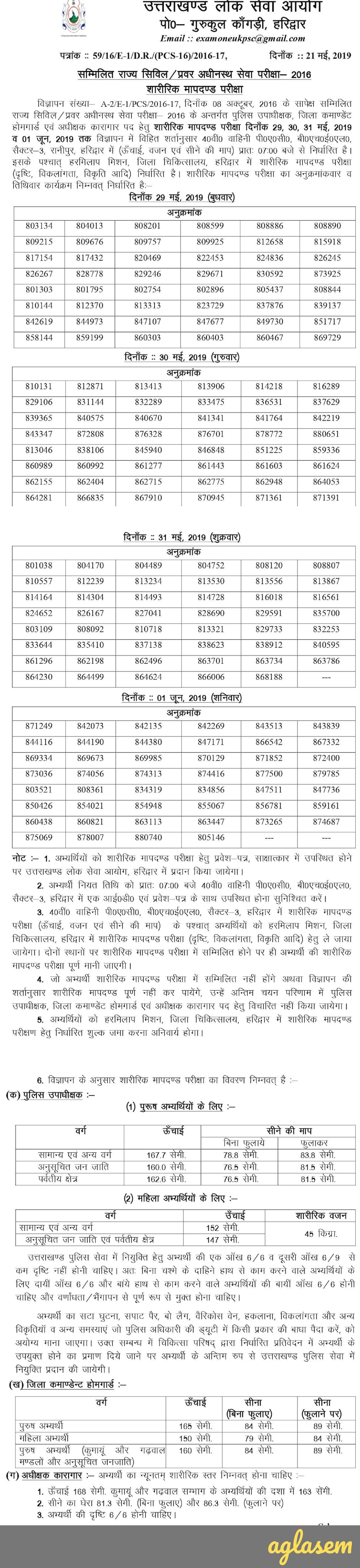 UKPSC Uttarakhand Upper Subordinate Services (PCS) Exam 2016-2019