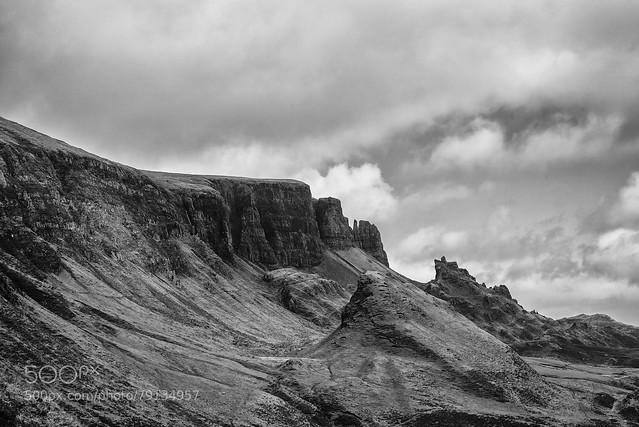 The Quiraing Isle of Skye B&W