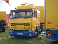 quicksilver coaches posted a photo:	G427 WFG1990 Foden 4325Moscow State CircusCampbell Park, Milton Keynes, 14 March 2008A twin-steer 6x2 unit with an unusual box body, this hauled the circus's engineering trailer that carried the lighting and power cables. It is possibly not a 4325 as it has a replacement front panel from a later Foden, and was last taxed in October 2011.