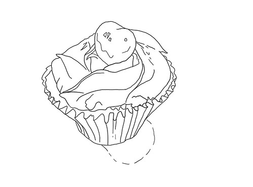 WS1906: Pink Cupcake - Line Art   by COLORED PENCIL magazine