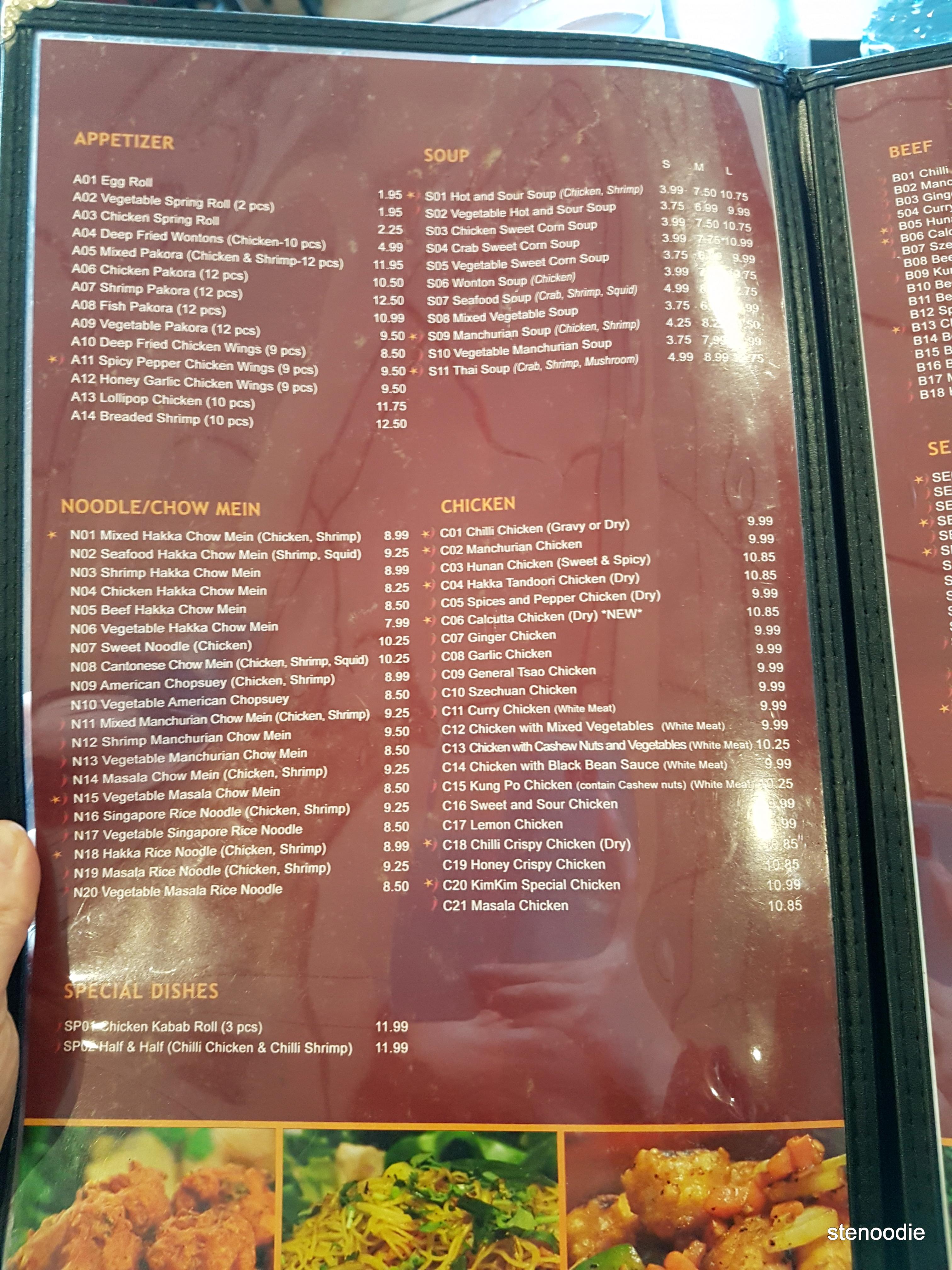 Kim Kim Indian Hakka Chinese Restaurant menu and prices