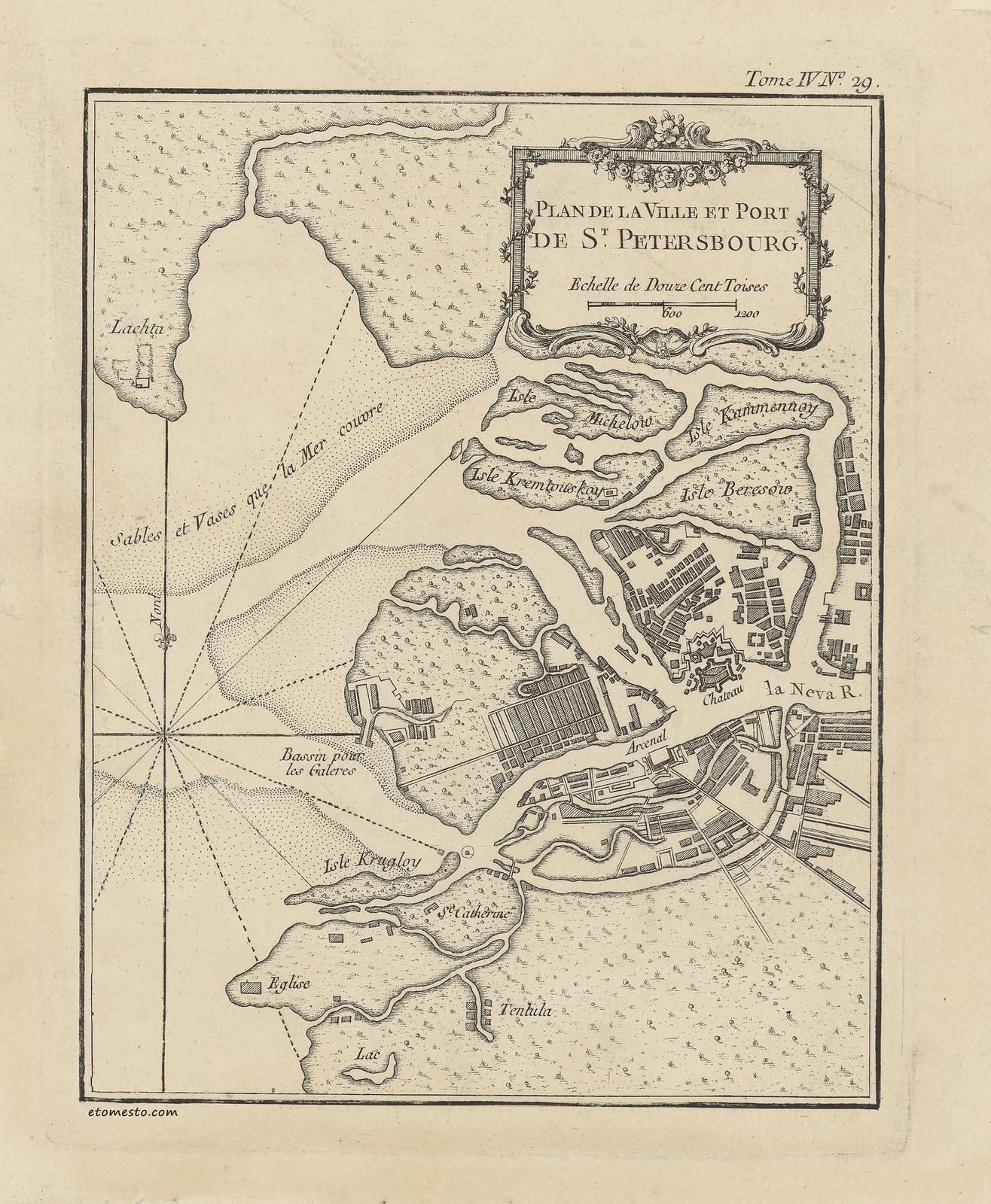 1764. План города и порта Санкт-Петербурга Жака-Николаса Беллина