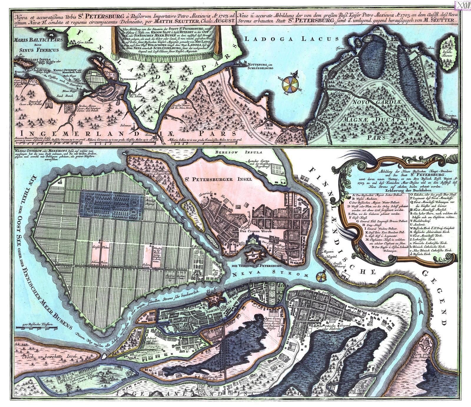 1734. Санкт-Петербург на плане Рейнера Оттенса
