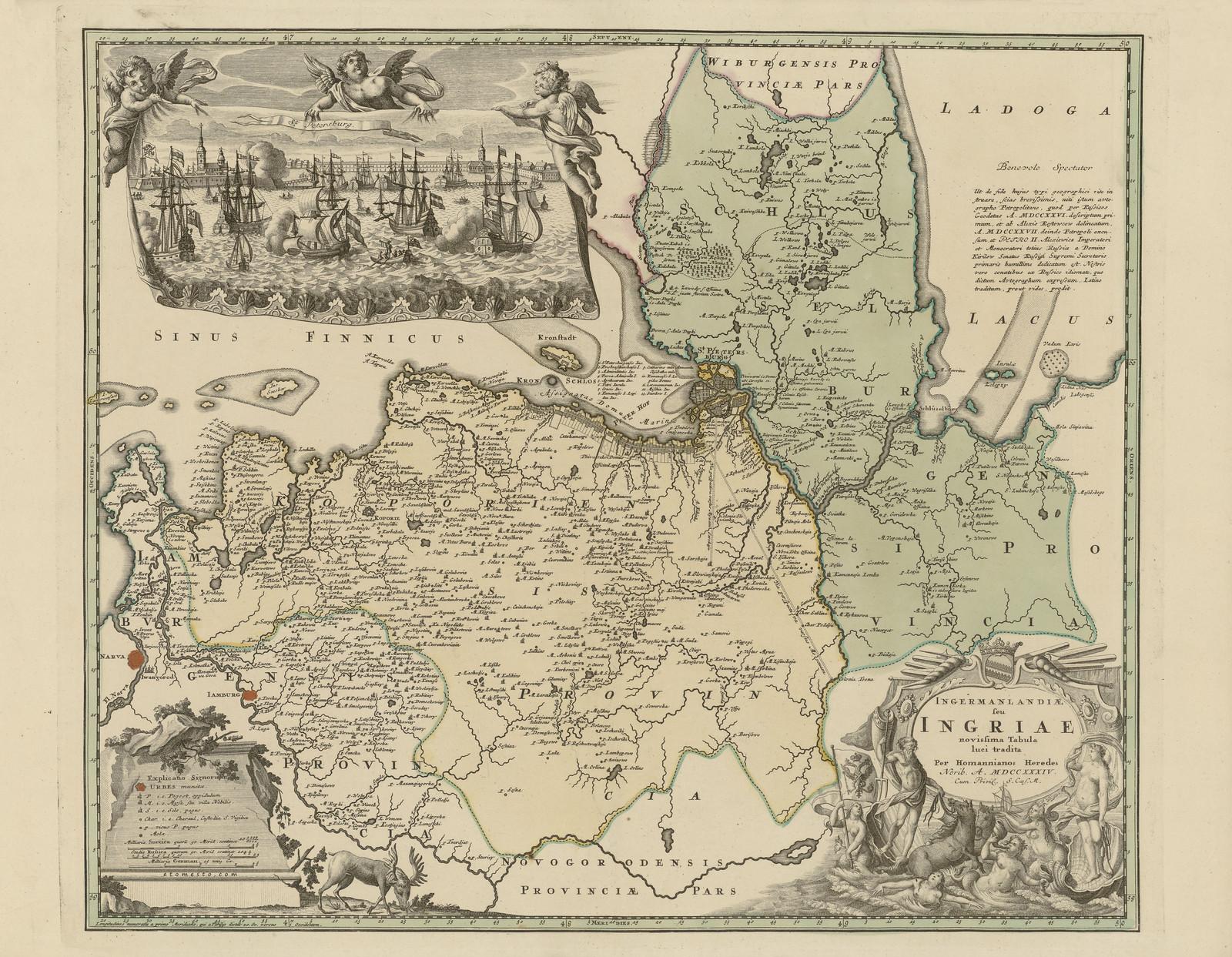 1734. Карта Ингерманландии. Johann Baptist Homann Erben