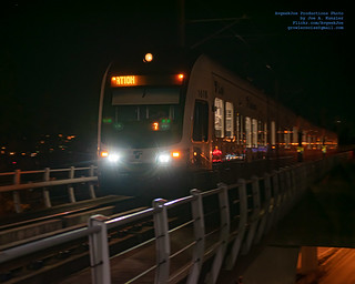 Approaching Sound Transit Link Train in Pre-Dawn Hours