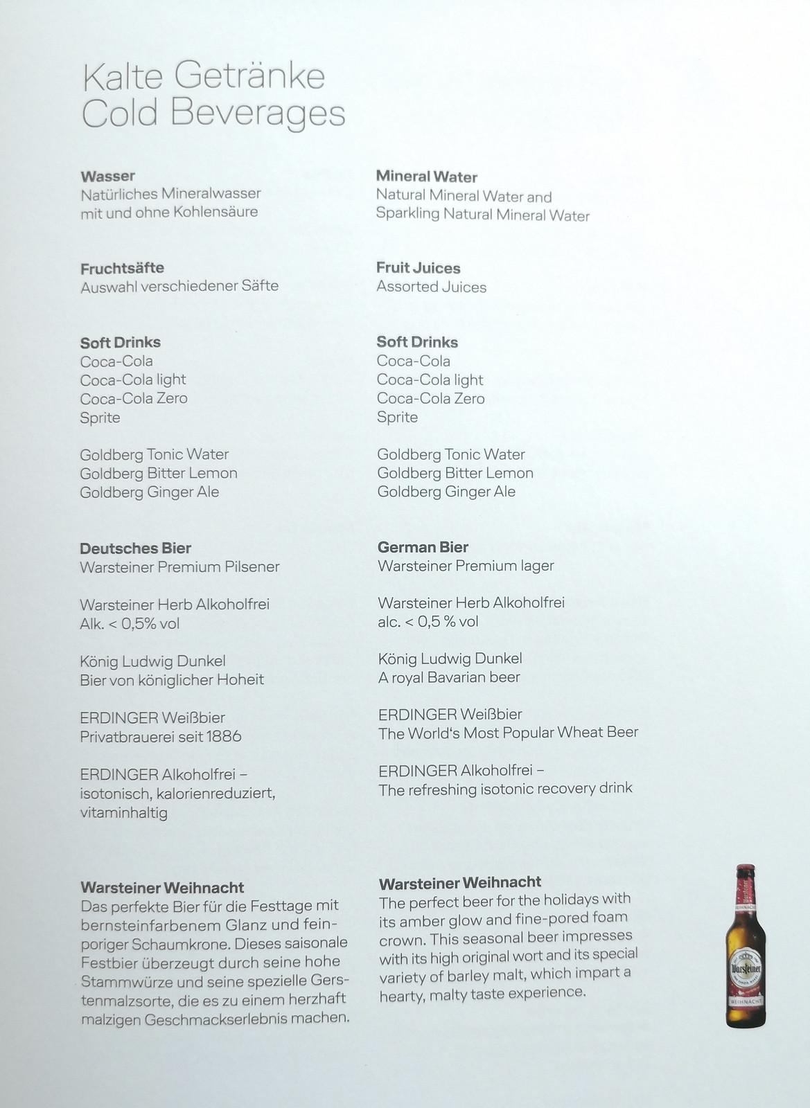 Cold beverage list