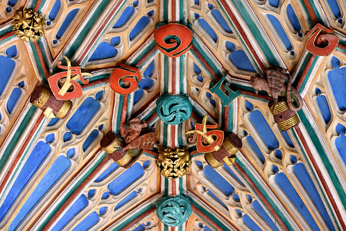 Winchester, Hampshire, cathedral, Langton's chantry chapel, vault, detail