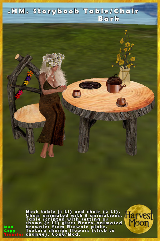 Harvest Moon – Storybook Chair & Table – Bark