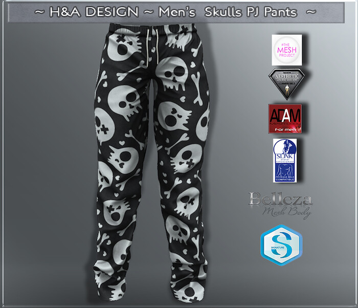 [H&A Designs]-Mens Skulls PJ Pants