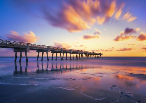 florida jacksonvillebeach sunrise longexposure jaxbeach jacksonvillebeachpier beach ocean clouds