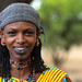Portrait of a Peul tribe woman with tattooed lips, Savanes district, Boundiali, Ivory Coast by Eric Lafforgue