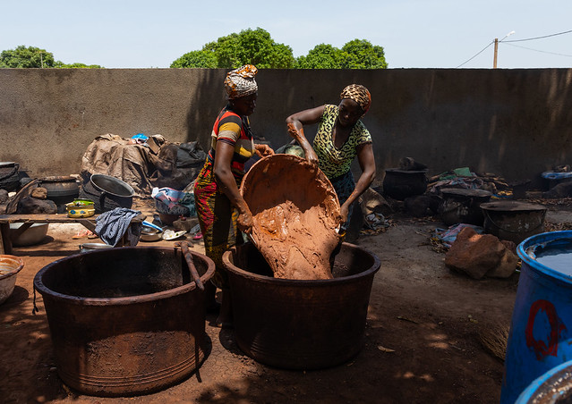 Senufo women prepairing shea butter in a traditional karité factory, Savanes district, Tcheregnimin, Ivory Coast