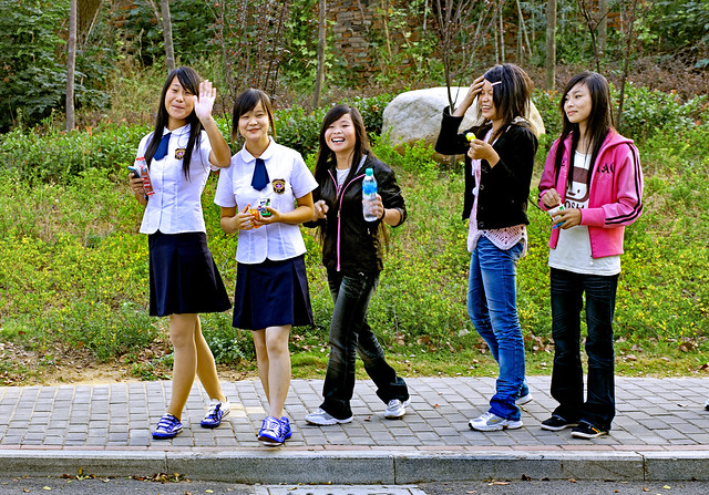 China 2009. Nanchang. Smiling schoolgirls.