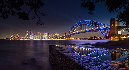 au australia newsouthwales kirribilli bridge reflections harbour sydney