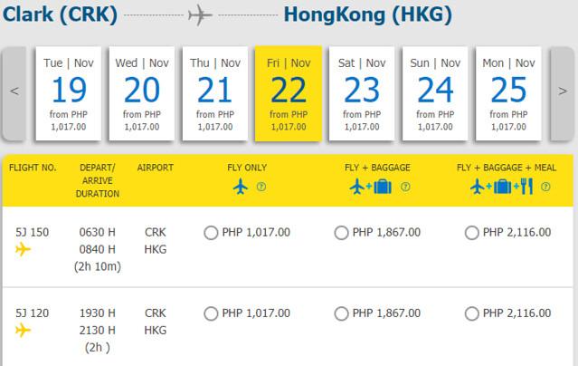 Clark to Hong Kong Cebu Pacific promo