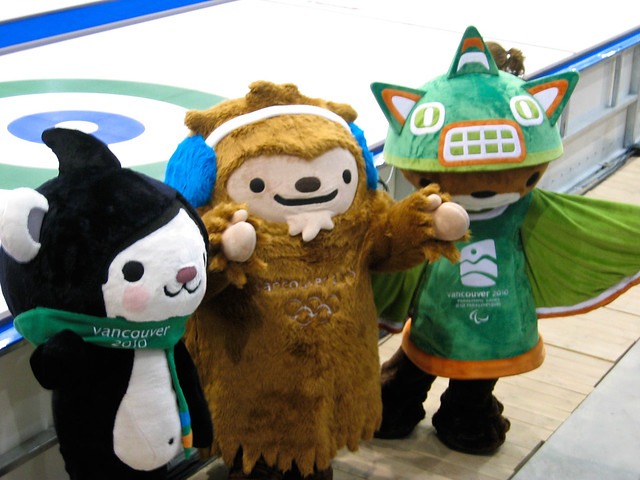 Mascots at ice level