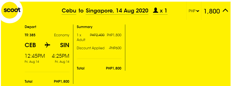 Cebu to Singapore Scoot Promo