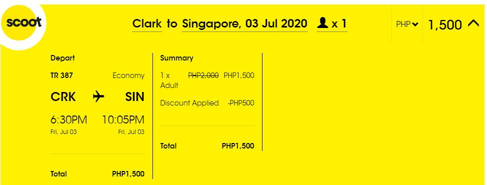 Clark to Singapore Promo